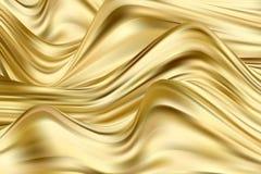 Fundo dourado da onda Córregos da pintura Fundo abstrato do vetor imagens de stock royalty free