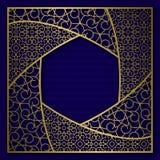Fundo dourado da tampa com quadro modelado tradicional no formulário sextavado ilustração royalty free