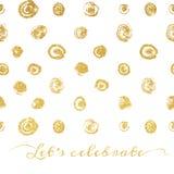 Fundo dourado da textura com os pontos tirados mão Imagens de Stock
