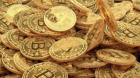 Fundo dourado de queda das moedas Conceito da mineração de Cryptocurrency video estoque