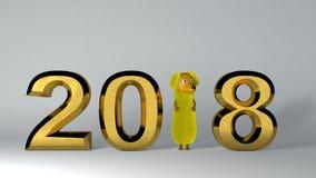 fundo dourado do ano 2018 novo rendição 3d Foto de Stock Royalty Free