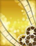 Fundo dourado do cinema Fotografia de Stock