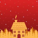 Fundo dourado do Natal da casa e das árvores Imagens de Stock Royalty Free