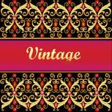 Fundo dourado do vintage, quadro vermelho do ouro das gemas da joia com fili ilustração stock
