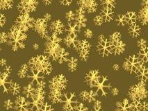 Fundo dourado dos flocos de neve do Natal Fotografia de Stock