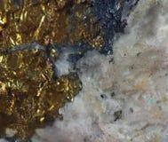 Fundo dourado, foto macro um pouco original uma pepita rara Fotos de Stock
