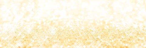Fundo dourado panorâmico da neve, fundo do feriado fotografia de stock royalty free