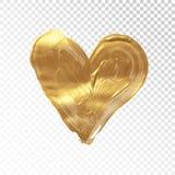 Fundo dourado pintado à mão do coração do vetor ilustração royalty free