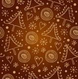 Fundo dourado sem emenda do Natal Teste padrão ornamentado do feriado infinito Textura luxuosa do xmas com flocos de neve e abeto Fotos de Stock Royalty Free