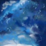 Fundo dramático da pintura do céu noturno ilustração royalty free