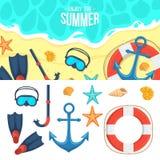 Fundo e ícones do verão Imagem de Stock