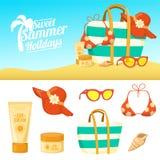 Fundo e ícones do verão Foto de Stock Royalty Free