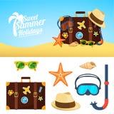 Fundo e ícones do verão Fotografia de Stock Royalty Free