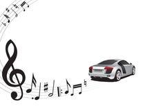 Fundo e carro da música Imagens de Stock