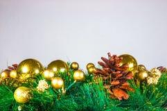 Fundo e decorações do Natal na madeira Foto de Stock Royalty Free