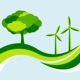 Fundo ecológico com árvore e turbina eólica no verde Fotografia de Stock