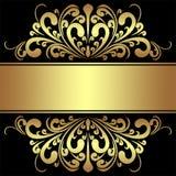 Fundo elegante com beiras e a fita douradas reais Foto de Stock
