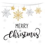 Fundo elegante da venda do Natal com fundo de brilho de brilho dos flocos de neve do ouro Imagens de Stock Royalty Free