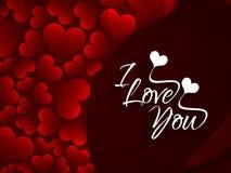 Fundo elegante do amor da cor vermelha com corações e  ilustração stock