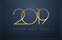 Fundo elegante do ano 2019 novo feliz Projeto dourado para Christm ilustração royalty free