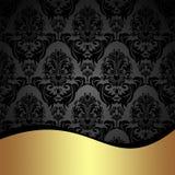 Fundo elegante do damasco do carvão vegetal com beira dourada Fotos de Stock Royalty Free
