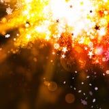 Fundo elegante do sumário do xmas do ouro com luzes e estrelas Fotografia de Stock Royalty Free