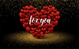 Fundo elegante luxuoso dourado do brilho do amor de dois corações Rotulação para você cartão do projeto do molde da disposição Imagem de Stock Royalty Free