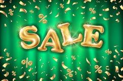 Fundo em bandeiras verdes da loja da cortina, propaganda dos balões da venda do ouro do vetor, compra Logotipo, logotype, sinal,  ilustração do vetor