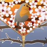 Fundo em um tema da mudança das estações Mola e inverno Pássaro em um ramo de árvore de florescência Zipper Imagem do vetor Fotografia de Stock
