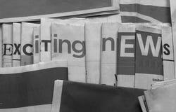 Fundo emocionante da notícia preto e branco imagem de stock royalty free