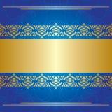 Fundo encaracolado azul com centro dourado Fotografia de Stock Royalty Free