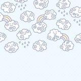 Fundo engraçado das nuvens dos desenhos animados com espaço para seu projeto do texto Fotos de Stock Royalty Free
