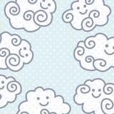 Fundo engraçado das nuvens dos desenhos animados com espaço para seu projeto do texto Fotografia de Stock Royalty Free