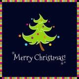 Fundo engraçado do preto da árvore de Natal Imagens de Stock Royalty Free