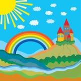 Fundo engraçado dos desenhos animados com castelo ilustração royalty free