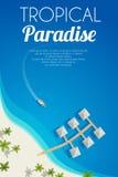 Fundo ensolarado da praia do verão com palmas e bungalows Vector a ilustração, EPS10 Imagens de Stock Royalty Free