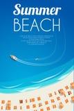 Fundo ensolarado da praia do verão com cadeiras e povos de praia Vector a ilustração, EPS10 Fotos de Stock
