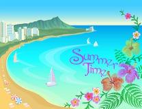 Fundo ensolarado das férias do curso do verão do céu da água azul da baía do oceano de Havaí A praia da areia dos barcos floresce ilustração stock