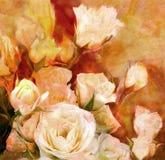 Fundo envelhecido floral com o ramalhete das rosas brancas ilustração do vetor