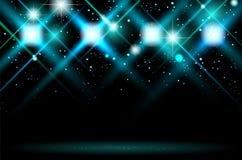 Fundo escuro abstrato com estrelas e luzes brilhantes ilustração stock