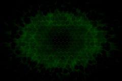 Fundo escuro com as luzes verdes de incandescência que brilham através de uma estrutura do hexágono 3d Imagem de Stock