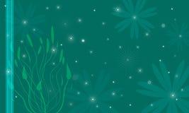 Fundo escuro com estrelas e flores Foto de Stock Royalty Free