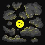 Fundo escuro da ilustração do estilo dos desenhos animados da nuvem Imagem de Stock Royalty Free