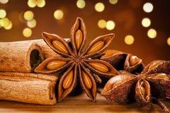 Fundo escuro de Anise And Cinnamon Sticks With Bokeh da estrela imagem de stock