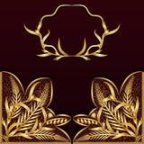 Fundo escuro do vintage com laço do ouro ilustração do vetor