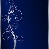 Fundo escuro elegante & rolos florais de prata Imagens de Stock Royalty Free