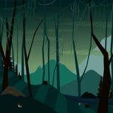 Fundo escuro fabuloso do pântano ilustração do vetor