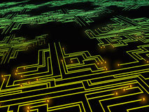 Fundo escuro técnico com placa de circuito Fotos de Stock