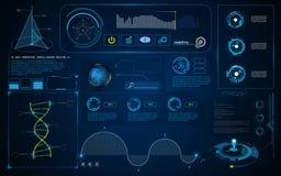 Fundo esperto do molde do conceito da inovação da tecnologia da tela abstrata da relação UI de HUD ilustração royalty free