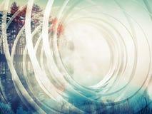 Fundo espiral abstrato com paisagem outonal Imagens de Stock